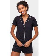 pijama curto hering botões blusa + short feminino - feminino