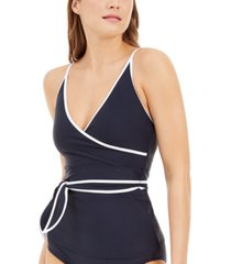 tommy hilfiger wrap-front belted tankini top women's swimsuit
