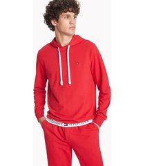 tommy hilfiger men's solid lounge hoodie red - xl