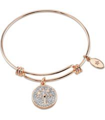 """unwritten """"my family my love"""" tree crystal adjustable bangle bracelet in rose gold-tone stainless steel"""