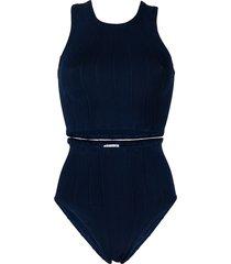 hunza g iris stripe-embroidered bikini set - blue