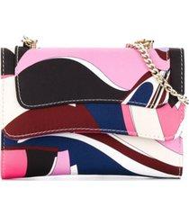 emilio pucci junior bolsa tiracolo com estampa geométrica - rosa