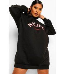 plus malibu sweatshirt jurk met capuchon, black