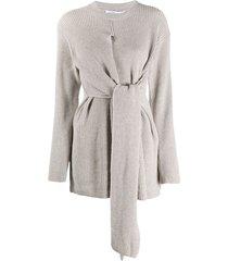 agnona longline belted jumper - grey