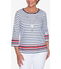 alfred dunner petite anchor's away border-stripe & necklace