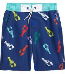 boy's mini boden kids' tie waist board shorts, size 6-7y - blue