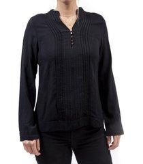 blusa plisado negro alexandra cid