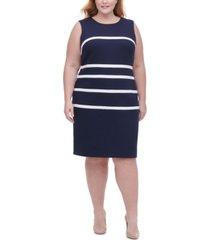 tommy hilfiger plus size pique-knit striped sheath dress