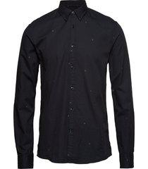 jacquard logo denim l/s shirt overhemd casual zwart junk de luxe