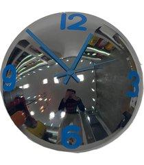 relã³gio de parede decorativo espelhado azul  metal 28x28x10 - amarelo - dafiti