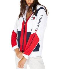 tommy hilfiger colorblocked zip-up active jacket