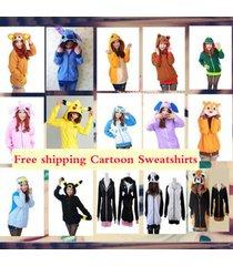 warm polar fleece animal cute cartoon hoodie with ears hooded hoody coat jacket*