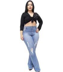 calça jeans credencial plus size flare krisley feminina