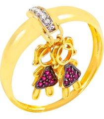 anel amor divino duas meninas banhado a ouro 18k