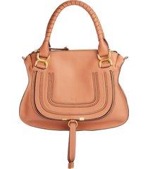 chloe medium marcie calfskin leather satchel - brown