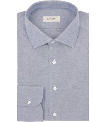 camicia da uomo su misura, canclini, oxford blu cotone rigenerato, quattro stagioni | lanieri