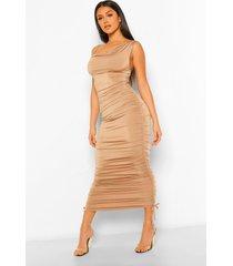 asymmetrische midaxi jurk met bandjes en ruches, toffee