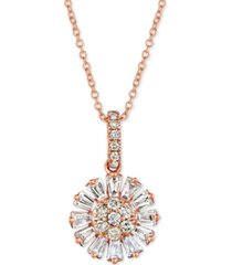 "le vian baguette frenzy nude and vanilla diamond flower 20"" pendant necklace (5/8 ct. t.w.) in 14k rose gold"