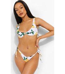 citroenen bikini broekje met zijstrikjes en v-taille, white