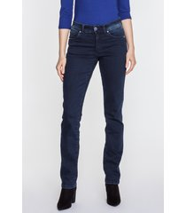 granatowe jeansy z ozdobnym guzikiem daisy