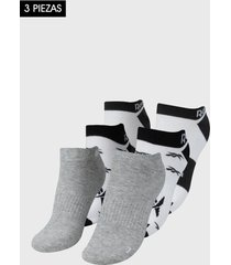 medias x3 blanco-negro-gris reebok invisibles essentials
