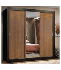guarda roupa casal madesa lyon 3 portas de correr com espelho 2 gavetas preto/rustic preto