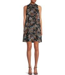 tommy hilfiger women's alba floral a-line dress - black - size 8