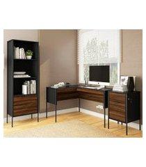 conjunto de mesa com estante e gaveteiro de escritório piraí preto e avelã
