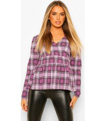 flannel long sleeve peplum blouse, lilac