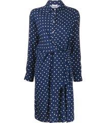 p.a.r.o.s.h. twisted polka dot shirt dress - blue