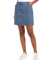 karen scott button-trim denim skort, created for macy's