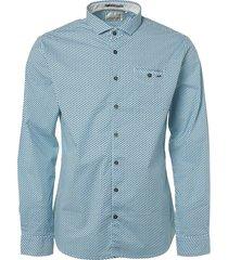 no excess shirt, l/sl, allover printed, stret lt aqua blauw