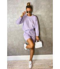 crew neck sweater & shorts set, lilac