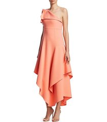one-shoulder asymmetric ruffle dress