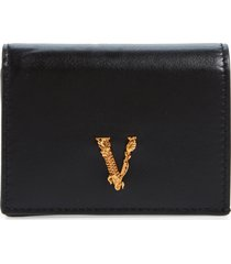 versace virtus leather wallet in black-versace gold at nordstrom