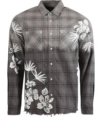 bleach floral plaid print shirt, black