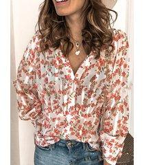 camicetta con colletto alla rovescia manica lunga casual con stampa floreale