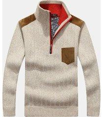 uomo casual slim fit maglione a maglia di lana pesante calda con collo a listino in colore a tinta unita