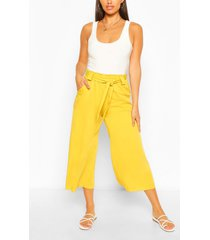 relaxed tie waist woven culottes, chartreuse