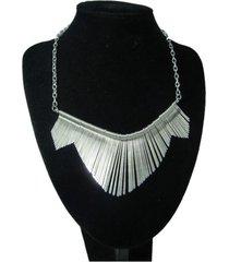 collar artesanal plateado  sasmon cl-12309