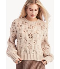 moon river women's over sweater top with balloon sleeves in color: natural size xs from sole society