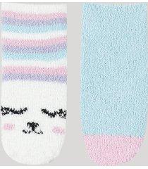 kit de 2 meias de inverno infantil em chenille cano médio lhama com antiderrapante multicor