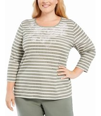 alfred dunner plus size loire valley studded striped top