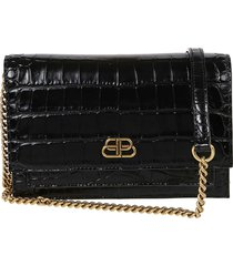 balenciaga sharp leather clutch