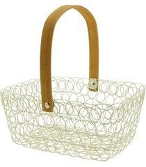 cesta de metal para frutas, flores, alça movél