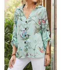 camicetta casual da donna a maniche lunghe con risvolto stampato calico birds