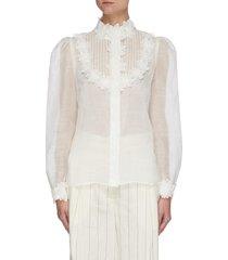 'the lovestruck' floral applique trim shirt