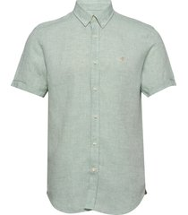 douglas ss linen shirt overhemd met korte mouwen groen morris