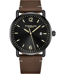 stuhrling original men's black case, black dial, brown leather strap watc