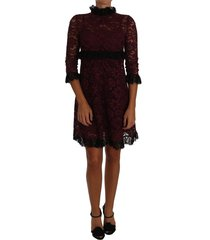floral lace burgundy gown mock collar dress